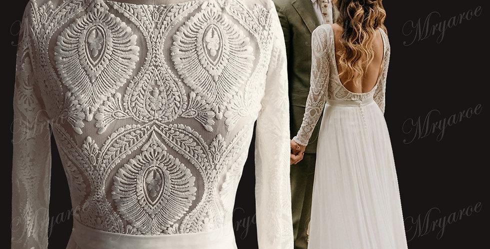 Unique Lace Long Sleeves Open Back Elegant Chiffon Detachable Train Bridal Gown