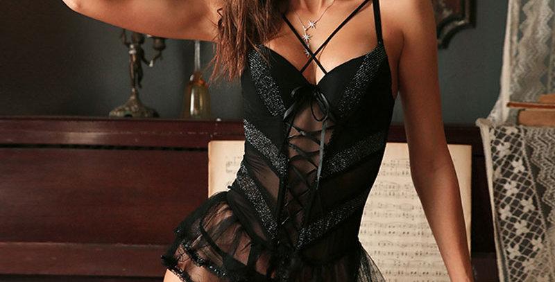 Embroidered Floral Sleepwear Corset Shoulder Strap Lingerie Black