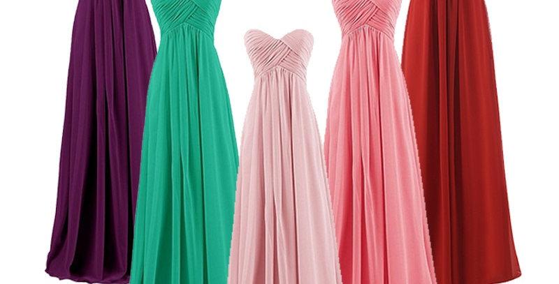 Strapless Long Elegant Chiffon Bridesmaids Dress.