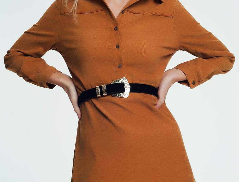 Camel Colored Mini Dress With Button Closure
