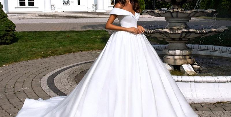 Pure White Elegant  Satin A-Line Wedding Dress With V-Neckline Off the Shoulder