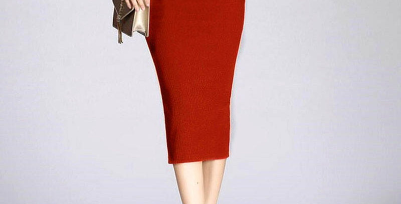 Stretch Slim Knitted Women High Elastic Package Pencil Skirt