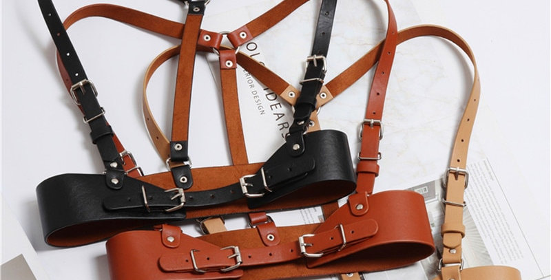 Women Punk Harajuku O-Ring Garters Faux Leather Body Cage Sculpting Harness