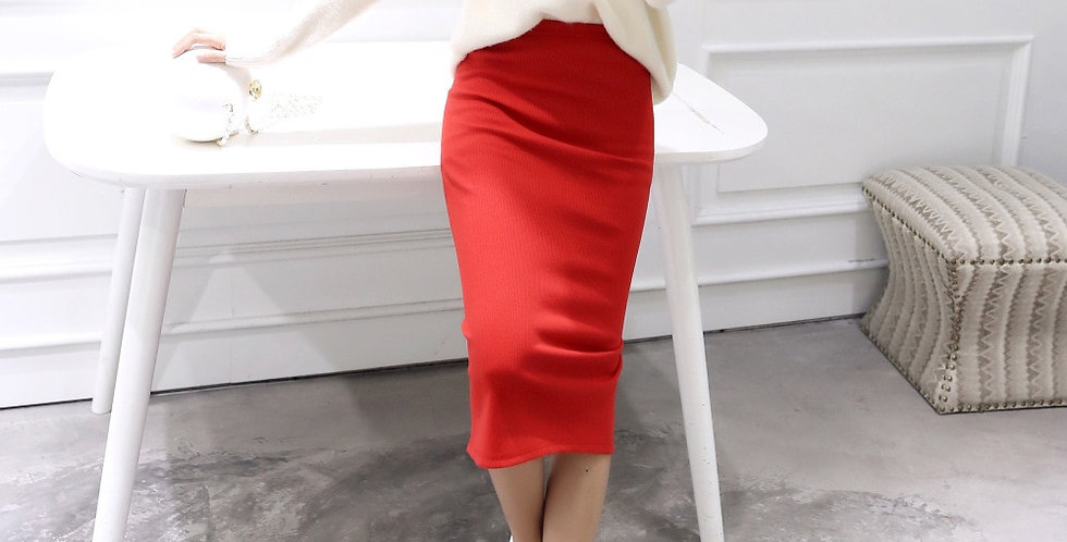 Hight Waist Kintting Cotton Ladies Mid-Calf Pencil Skirt