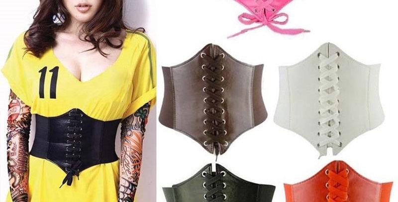 Corset Wide Belts PU Leather Slimming Body Belts for Women Elastic Waist