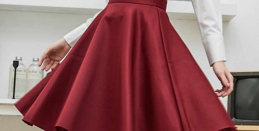 Women Cotton Space Knee-Length Big Swing Umbrella Skirt High