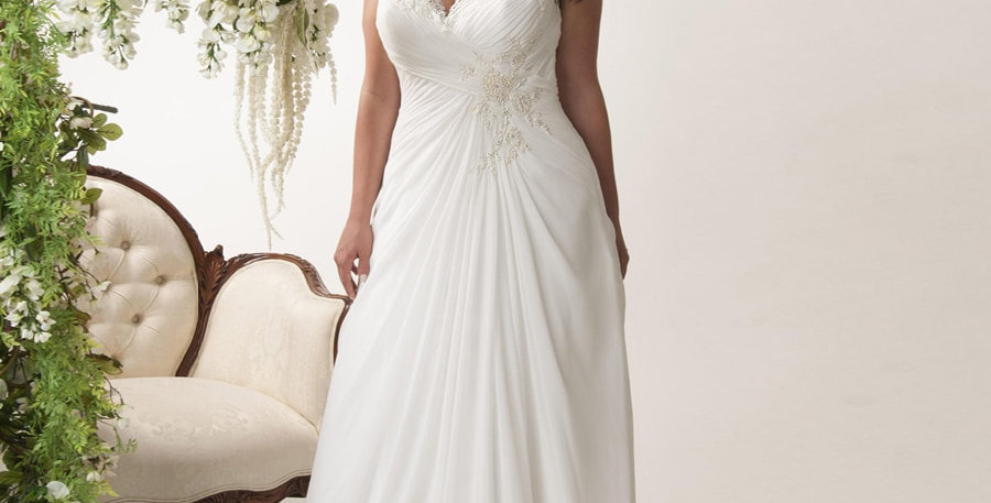 Elegant Open Back V-Neck Cap Sleeves Chiffon Bridal Gown Sweep Train Appliqued
