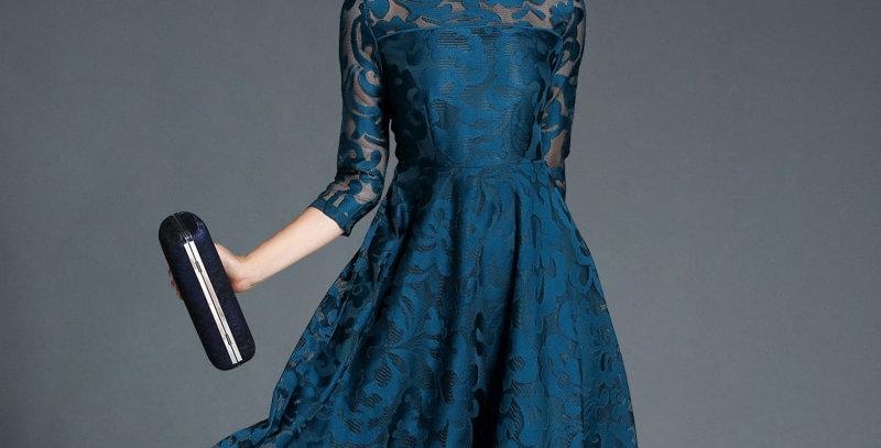 Autumn Lace Dress Work Casual Slim Fashion Dresses Women A-Line Vintage