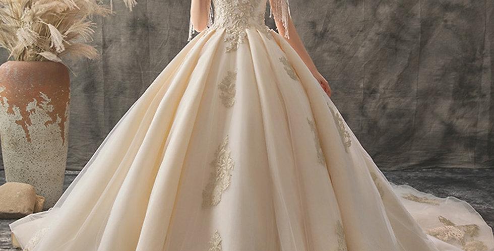Princess V-Neck Lace Up Beading Sequins Gold Appliques Wedding Dress