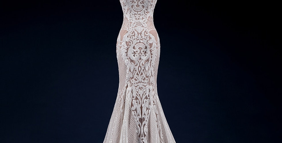 Vintage Lace Mermaid Wedding Dress Sequin Lace Sheer Bridal Gowns