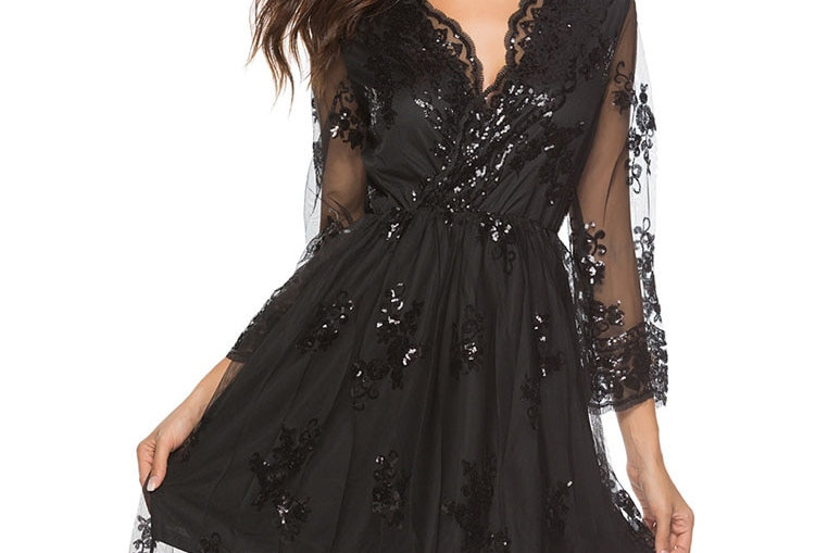 Long-Sleeve Dress Lace Summer Dress for Women Fashion Sequin Tulle Retro Party