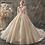 Thumbnail: Princess V-Neck Lace Up Beading Sequins Gold Appliques Wedding Dress