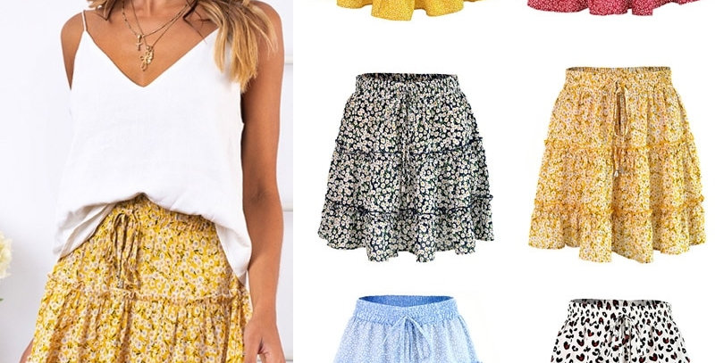 Floral Printed A-Line Mini Skirts Cotton Ruffles Pleated