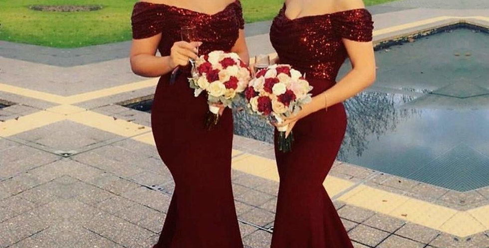 Women's Sequin Mermaid Bridesmaid Dresses Off Shoulder