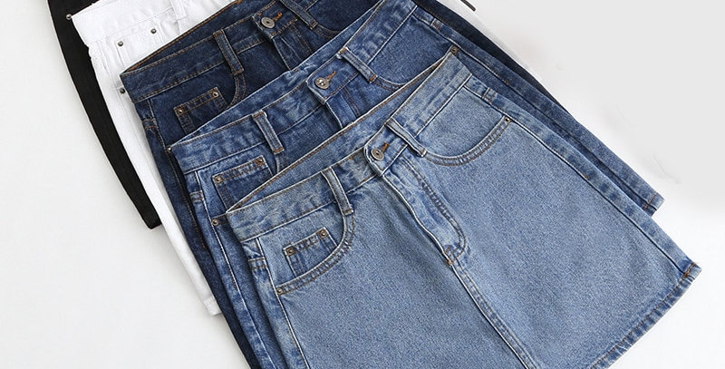 Women Denim Mini Skirt High Waist