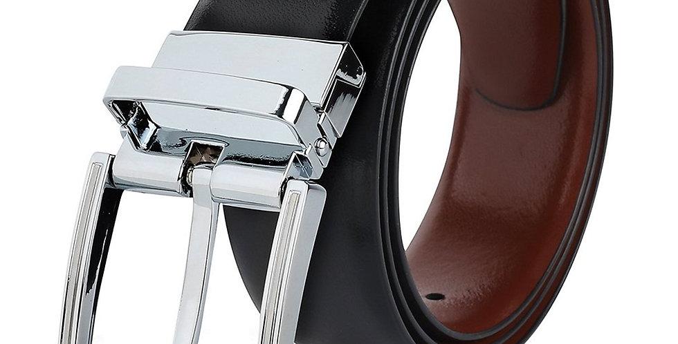 Woman's Reversible Black & Brown Genuine Leather Twistable Buckle Belt