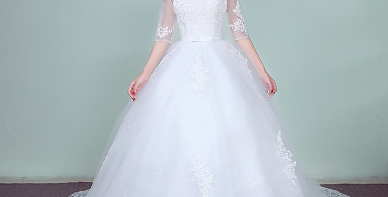 Lace Embroidery Half Sleeve Wedding Dresses Long Train Wedding Gown V Neck