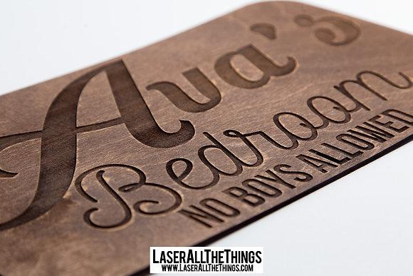 Girls Wooden Bedroom Sign
