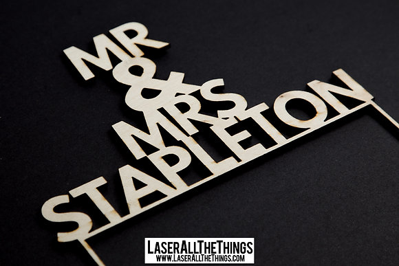 Mr & Mrs Wooden Wedding Cake Topper V1