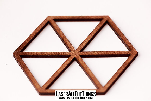 Triangle Coasters- Set of 6- Wood