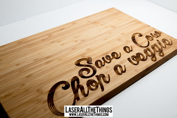 """Save a Cow Chop a Veggie"" Cutting Board Large"