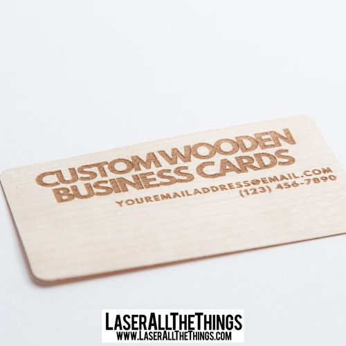 Laserallthethings custom wooden business cards rounded wooden business cards x50 reheart Image collections