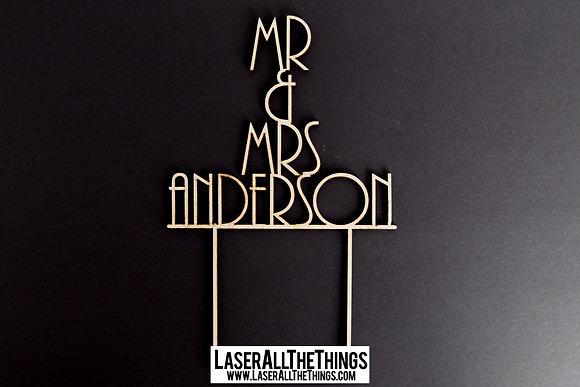Mr & Mrs Wooden Wedding Cake Topper V3