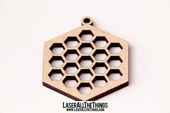 Honeycomb Necklace Hexagon- Wood