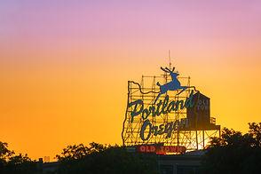 Sunset over the iconic Portland, Oregon