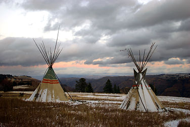 Tepees overlooking Chief Joseph Canyon,
