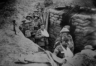 Bandaged British World War 1 soldiers in