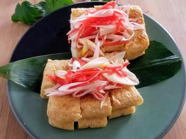 おうち居酒屋★【レシピ】トースター調理♪栃尾揚げの紅しょうがトッピング