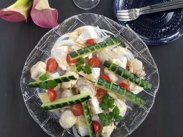 自分をもてなす週末【レシピ】ベビーホタテとカマンベールのオードブル風サラダ