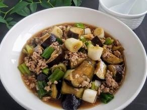 白ご飯のおかず♡【レシピ】茄子と長ネギのひき肉餡 献立の話つき
