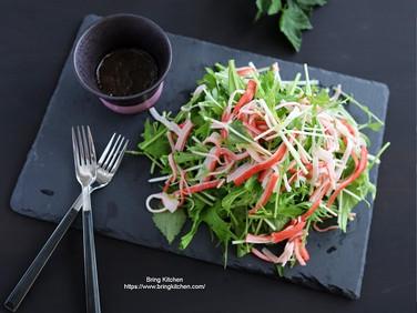 【レシピ】三つ葉とカニカマのサラダ・わさびバルサミコ酢ドレッシング