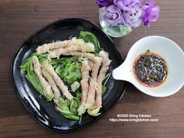レンジで簡単!【レシピ】肉巻き青梗菜のレンジ蒸し エンゲル係数の高い献立付き。