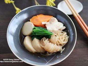 ほっこり♡【レシピ】里芋と結びしらたきの煮物