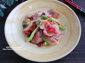 紅生姜がアクセント♥️【レシピ】麓山高原豚とネギの紅生姜炒め
