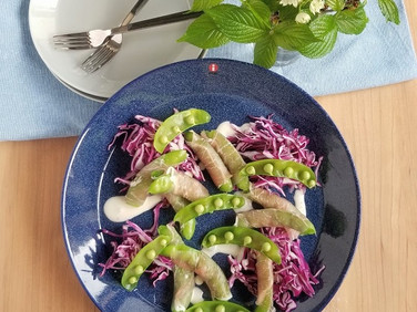 【レシピ】盛りつけ工程付き!砂糖豌豆と生ハムのオードブル風サラダ