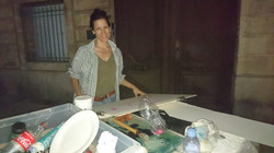 Night painting in the square
