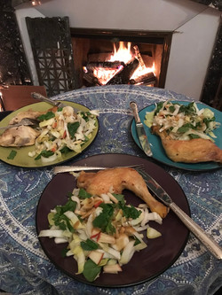 Dinner with a friend, and a fire