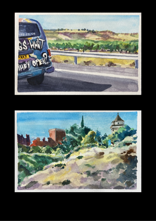 Hi Road Trippers!  Its a wintery Monday morning here in New Mexico . I'm sitting at my desk looking at the snow drifting around my plants and the birdies hopping back and forth like their little feet are really cold. Meanwhile I'm painting scenes from our 2019 road trip to Zaragoza where the air was so hot that I thought my eyes would pop out of my head if I didn't get inside with some air-conditioning !  We are about 15 minutes outside of the city and I am always mesmerised by the remnants of ancient castles and ludicrous tour companies. I hope the week ahead is filled with possibilities !   Cheers.