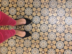Antique tile flooring