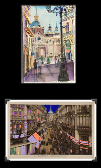 It's another day in sunny Zaragoza!  We've gotten an early start before the heat and the hordes!  My post is a little later than usual, I'll blame day light savings time.🥰 If your clever, you'll notice the street we are on is the same as the one on the card!