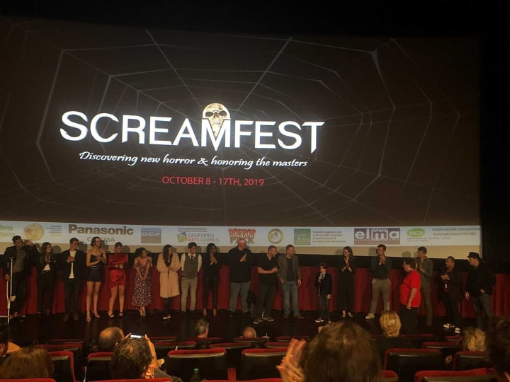 THE WRETCHED Cast and Crew onstage during the Q&A at Screamfest.