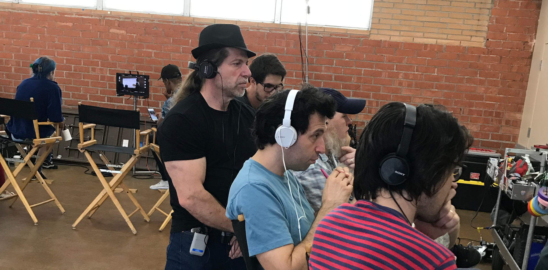 OH JEROME, NO - Producer Ed Polgardy watches a take with Writer-Directors Alex Karpovsky and Teddy Blanks.