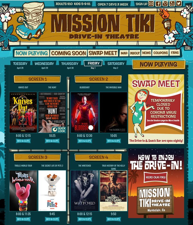 Mission Tiki Drive-In ad.