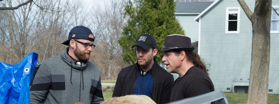 Writer-Directors Brett & Drew Pierce and Producer Ed Polgardy discuss a scene for THE WRETCHED.
