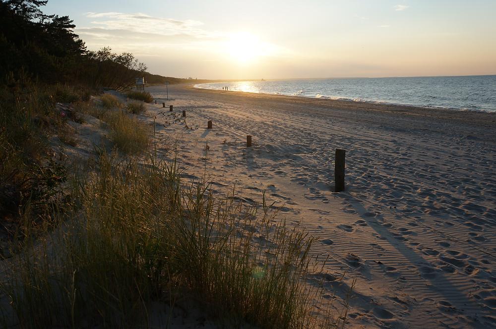 menschenleerer Strand beim Campingplatz Dünengelände Zempin