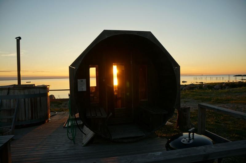Fass-Sauna direkt am Strand auf Oeland